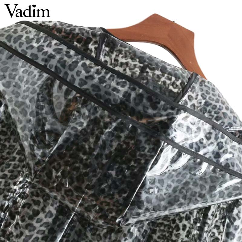 cb922b71149f Vadim chic leopard print hooded long jacket waterproof animal pattern raincoat  pockets long sleeve coat outerwear tops CA260-in Basic Jackets from Women's  ...