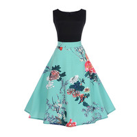 Fenghua 2017 Women Summer Autumn Dress Casual Vintage Audrey Hepburn Elegant Sleeveless Dress Sexy Floral Party