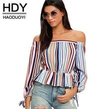 HDY Haoduoyi Новая мода спинки Топы Для женщин с длинным рукавом с плеча женский Топы Элегантный Полосатый плиссированные дамы Блузки для малышек Рубашки