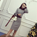 2017 Spring Semi-turtleneck Slim Waist Medium-long Women Knitted long-sleeve Dress Hit Color Ladies Straight Pencil Dress