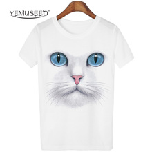 YEMUSEED 3D Tops Harajuku Cat T shirt Women Casual kawaii Blusa tumblr T-shirt Tees Plus Size XL