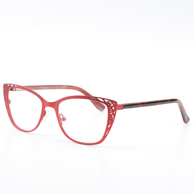Women Eyeglasses Vintage Metal Cat Eye glasses Frame Red Gorgeous ...