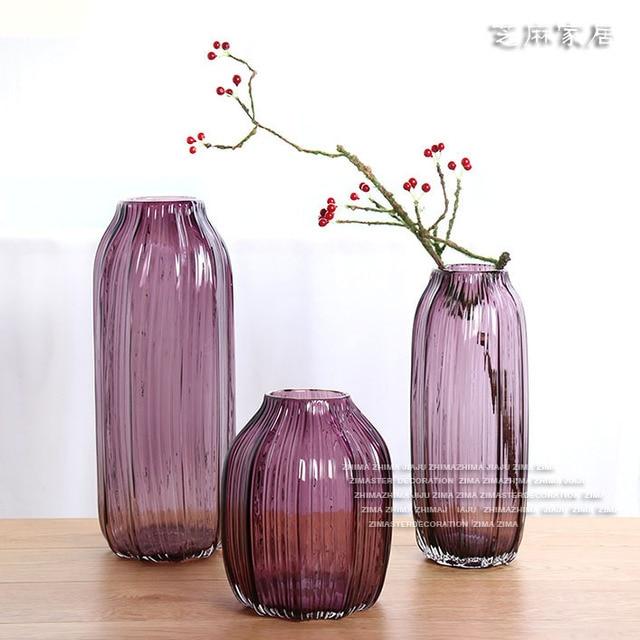 Ceramic Club Sesame Home Purple Stripes Glass Vase American Country