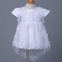 3Pcs 3 12 Months newborn baptism dress Baby Girls Embroidered Dress Christening Baptism Dress+Bonnet+Cape 1 year birthday dress
