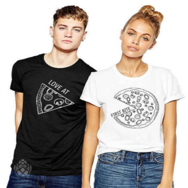 c493f690f 2018 Cute Couple Matching T-Shirt Mr Mrs Pizza Summer Clothes Tees Tops  Short Sleeves Black White