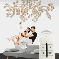 European Round Living Room Crystal Lamps American Style Creative Restaurant Lamps Modern Minimalist Led Ceiling Lamp
