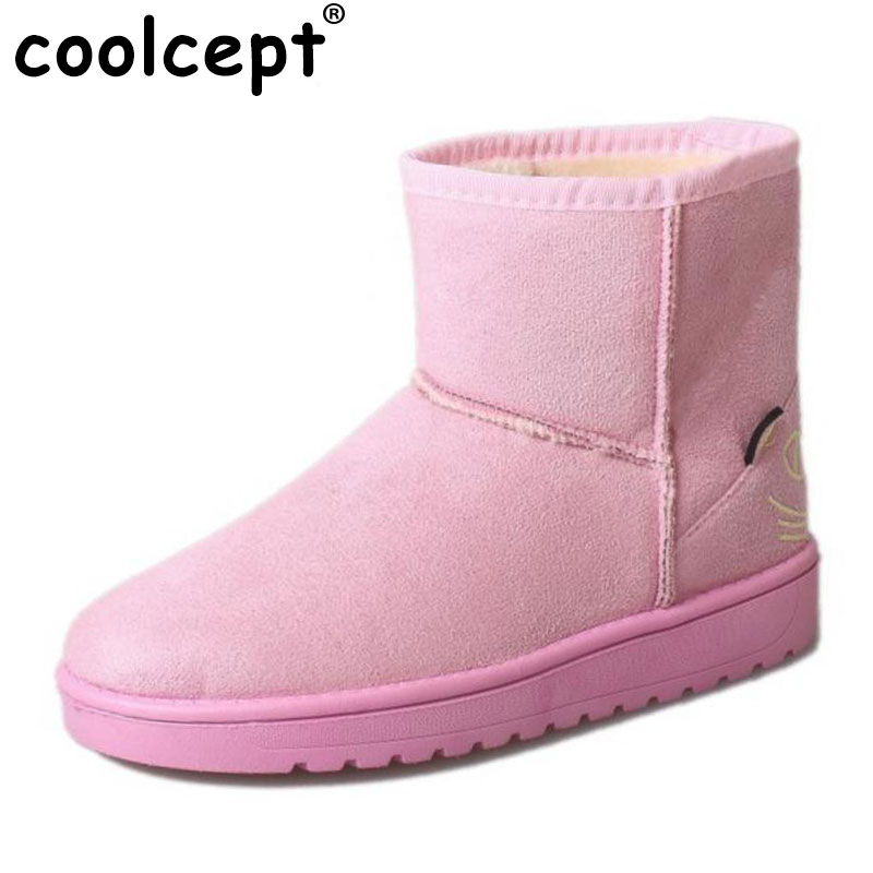 Coolcept  Winter Shoes Women Warm Plush Ankle Snow Boots For Children Cartoon Thick Fur Girls' Winter Botas Footwear Size 36-40
