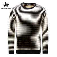 2019 Autumn Winter Long Sleeve Thick T Shirt Men Striped Casual Homme Tee Shirt 100% Cotton Brand Tshirt Soft Tops Tees