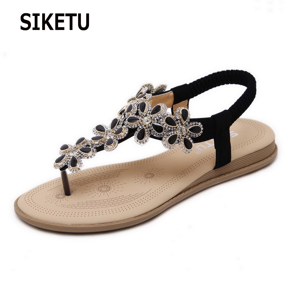 4fa374fcf39e4 2018 New Summer Flat Sandals Summer Rhinestone Bohemia Beach Flip Flops  Women Shoes Sandles Zapatos Mujer Sandalias Shoes Woman