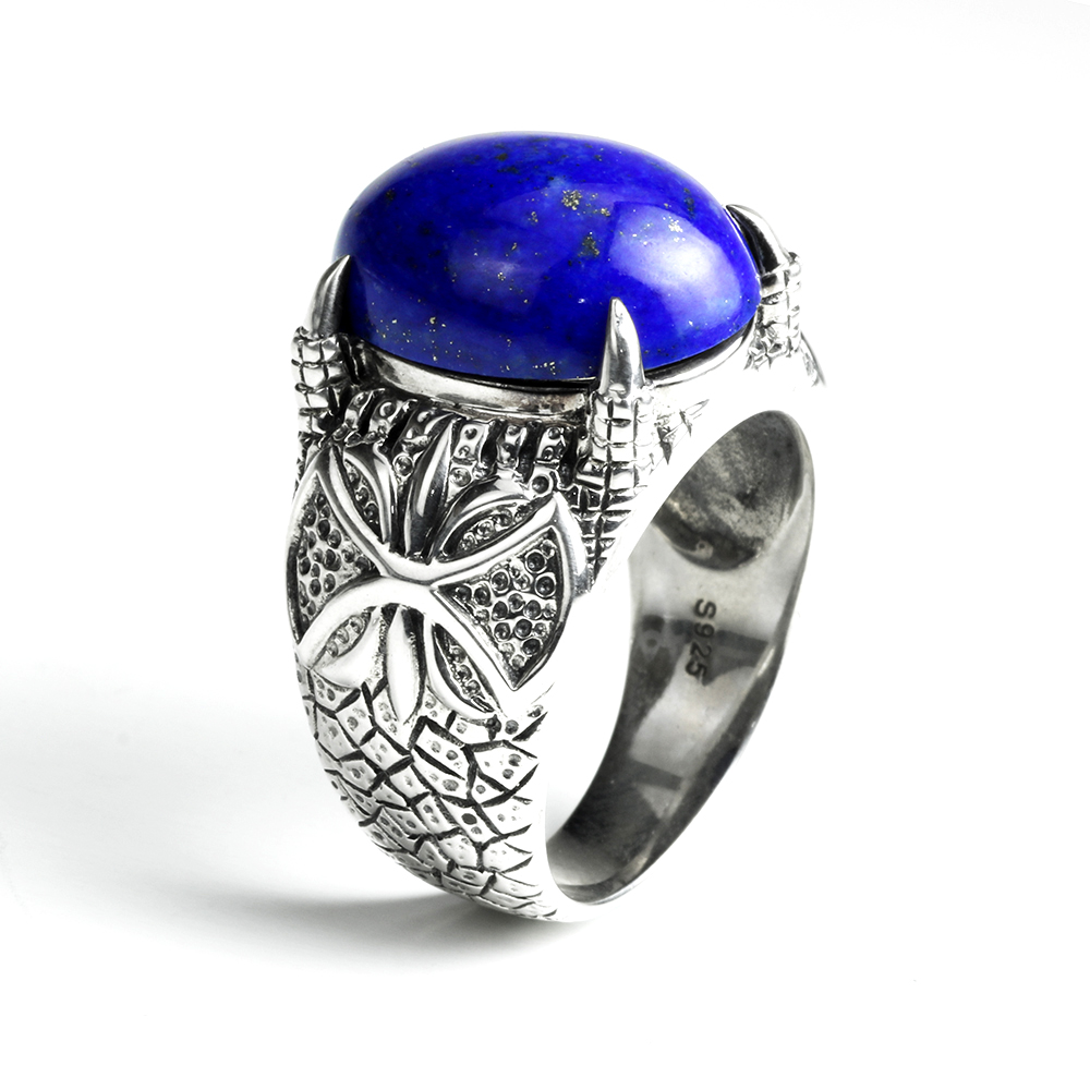 Vintage Natural Mens Lapis Lazuli Rings 925 Sterling Silver Dragon Claws Prong Setting Index Finger Ring