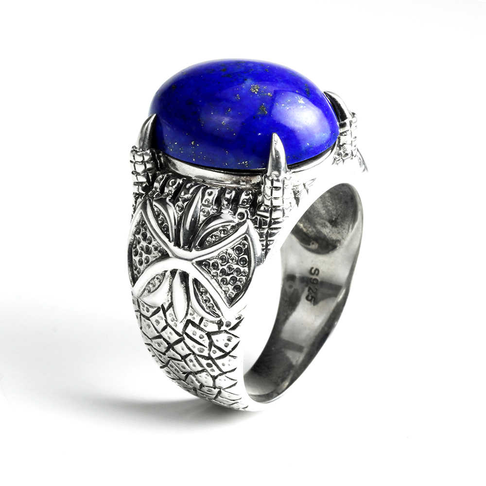 f2ef062edb910 Vintage Natural Mens Lapis Lazuli Rings 925 Sterling Silver Dragon Claws  Prong Setting Index Finger Ring Turkish Jewelry