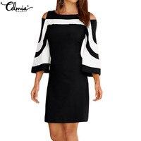 2020 celmia 女性のセクシーなドレス夏のエレガントなブラックホワイトカラーブロック 3/4 スリー事務レディースプラスサイズ vestidos