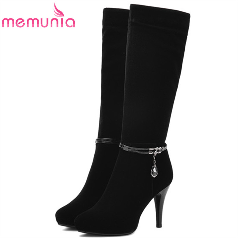 MEMUNIA 2018 Half boots for women spring autumn mid calf boots fashion elegant PU nubuck leather shoes woman party flock double buckle cross straps mid calf boots