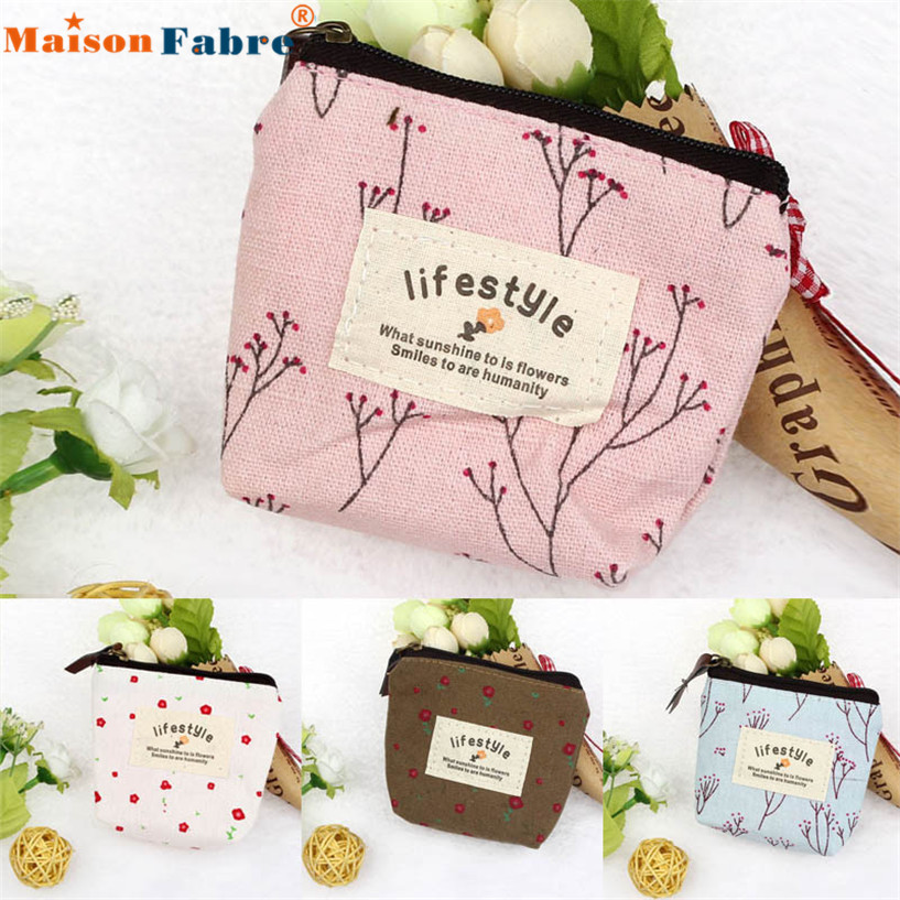 Hot Sale Small Canvas Purse Zip Wallet Lady Coin Case Bag Handbag Key Holder Coin Purses wholesale DE12