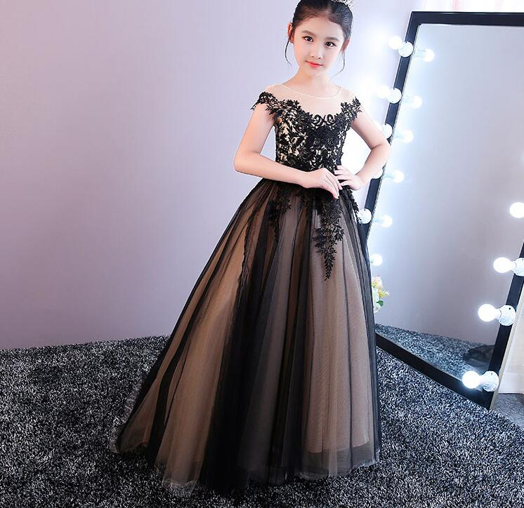 New Christmas Dress O-Neck Appliques Sleeveless Ball Gown Court Train Flower Girl Dresses for Weddings Vestidos Hot elegant beaded a line appliques court train evening dress