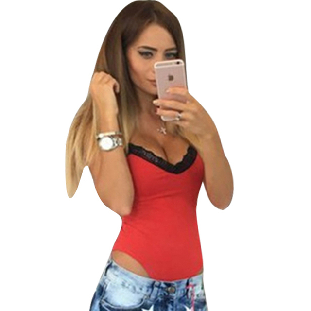 2019 Summer Rompers women Jumpsuits Sexy stitching Patchwork V-neck sling 1-piece Fashion Lace Romper Skinny Bodysuits For Women