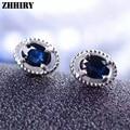 Natural Sapphire Earrings Deep Blue Genuine Solid 925 Sterling Silver Real Gem Stone Earrings Women
