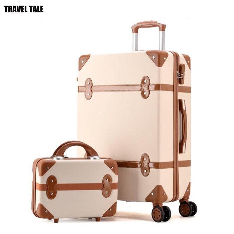 TRAVEL TALE ผู้หญิง hard retro rolling ชุดกระเป๋าเดินทางรถเข็นสัมภาระพร้อมกระเป๋าเครื่องสำอาง vintage กระเป๋าเดินทางสำหรับ girls-ใน กระเป๋าเดินทางแบบลาก จาก สัมภาระและกระเป๋า บน   1