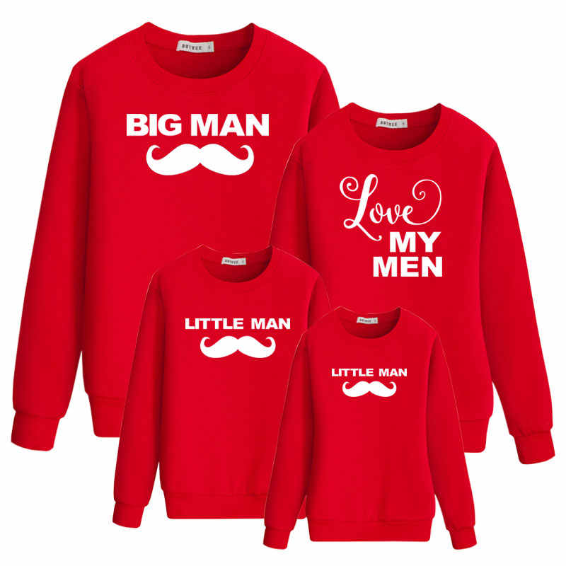ครอบครัวชุดแม่และลูกสาว Daddy mommy Me Baby SON ดู sweatshirt เสื้อยืด Love Big Little Man ฤดูใบไม้ร่วงเสื้อผ้า
