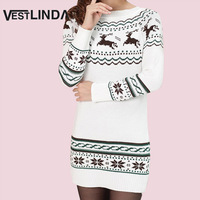 AZULINA Women Sweater Dress Snowflake Elk Print Christmas Short Dress Autumn Winter Bottom Vestidos Women Knitted