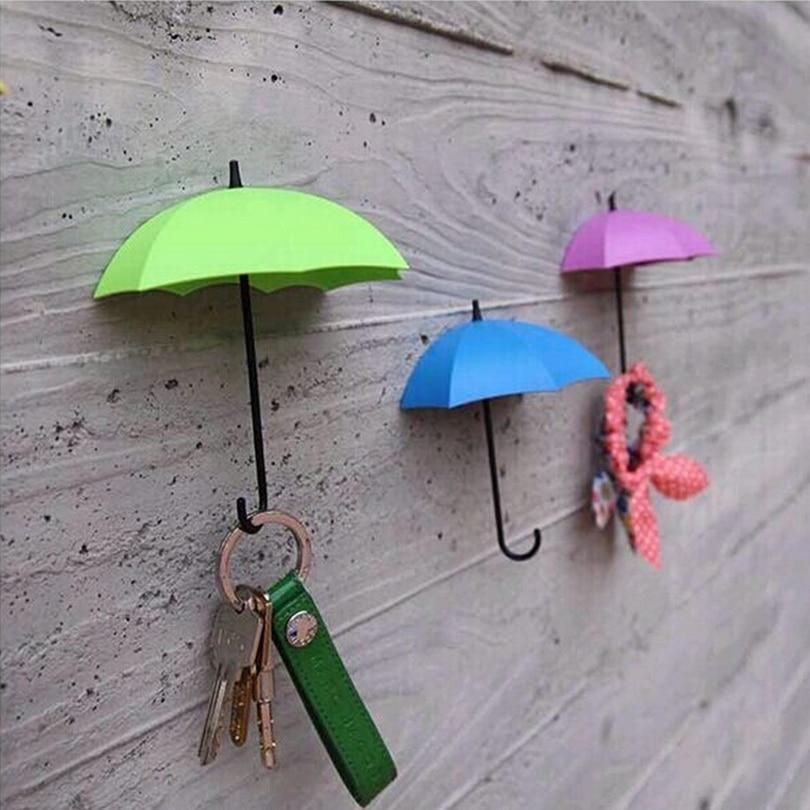 3pcs! Self adhesive mbrella shape wall mounted hook coat organizations Storage rack for key hanger towel Soap jewelry Holder