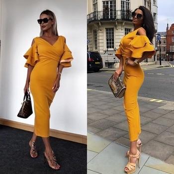 b52891858 Bodycon vestido de verano de las mujeres celebridad vestido de fiesta  amarillo de mariposa de manga corta vestido largo elegante banquete ropa