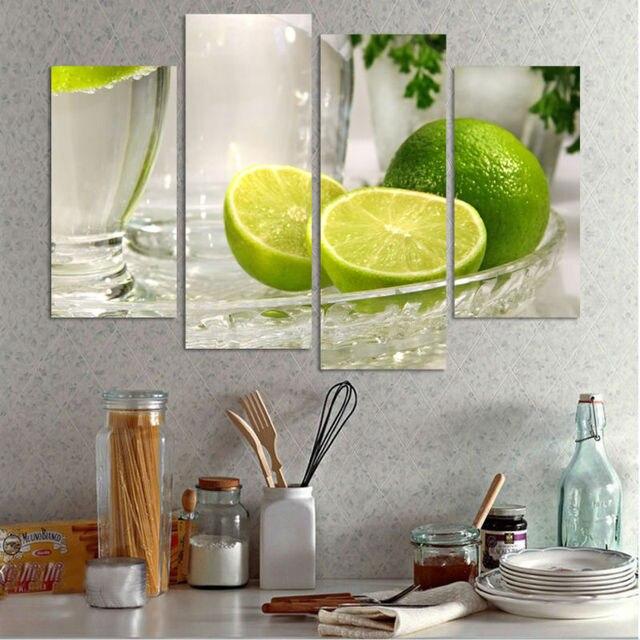 4 paneles green lemon fruit vidrios claros cuadros de la pared para ...