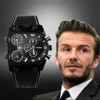 Oulm 9315 Watches Men Quartz Casual Leather Strap Wristwatch Sports Multi Time Zone Army Military Male