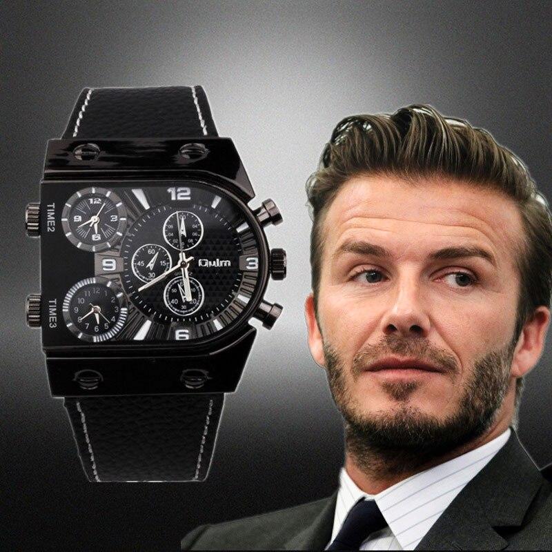 Uhren Männer Oulm 9315 Quarz Lässige Lederband Armbanduhr Sport Multi-Zeit Zone Armee Militär Männlichen Uhr Uhr Männer der Uhr