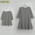 2017 New Styles Autumn Family Matching Outfits Mother Or Daughter Dress Casual Fall Full sleeve black and white Striped Dress