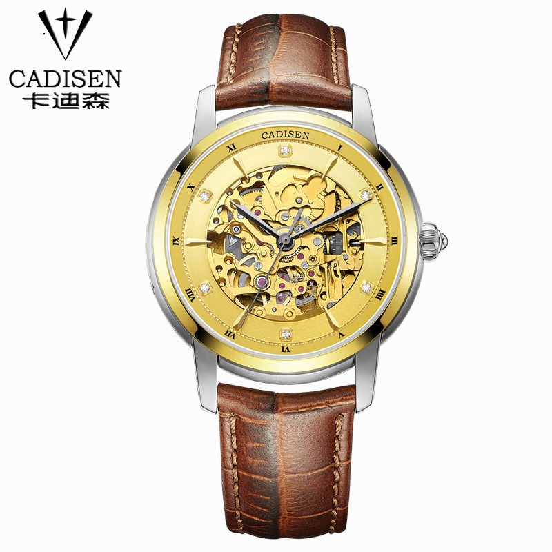 CADISEN new Men Luxury business watches Fashion self-wind Automatic Mechanical watch sports relogio masculino Strap Wristwatches