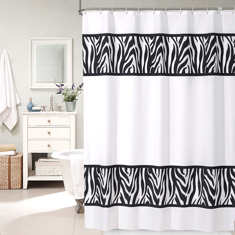 180X180CM Modern White Black Fabric Shower Curtains Liner For Bathroom  Polyester Waterproof Mildew Free Washable