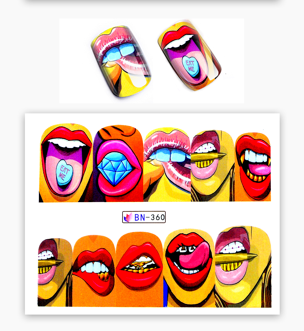 1 Sheet 17 New Nail Fashion Sticker Full Cover Lips Cute Printing Water Transfer Tips Nail Art Decorations 11