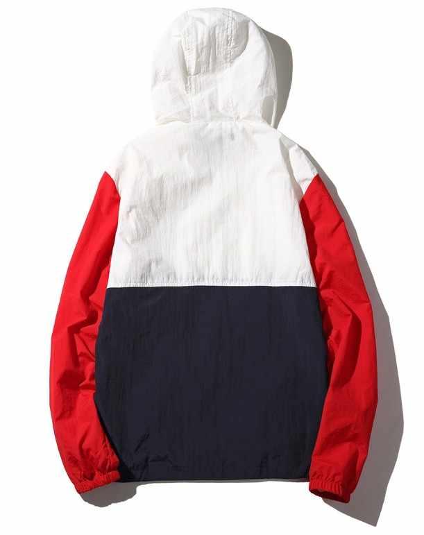 2019 アノラックジャケットウインドブレーカー男性 jaqueta masculina パッチワークジャケットヒップホップボンバージャケット