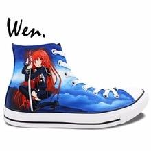 Wen Hand Painted Anime Shoes Design Custom Shakugan No Shana Men Women's Gifts High Top Canvas Sneakers