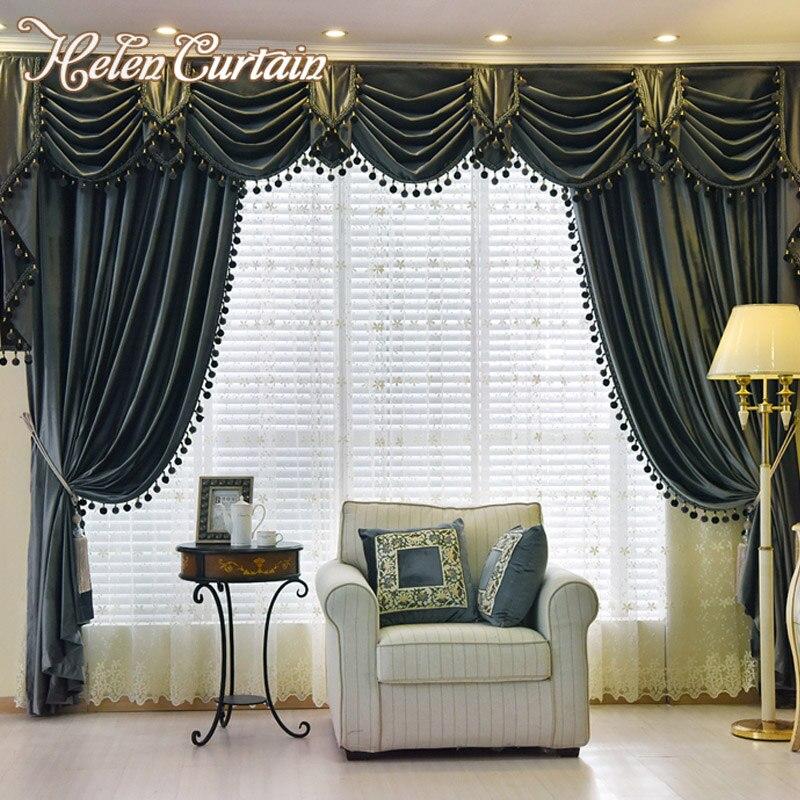 Helen Curtain Set Thick Velvet Blackout European Style Living Room Curtain Luxury Valance
