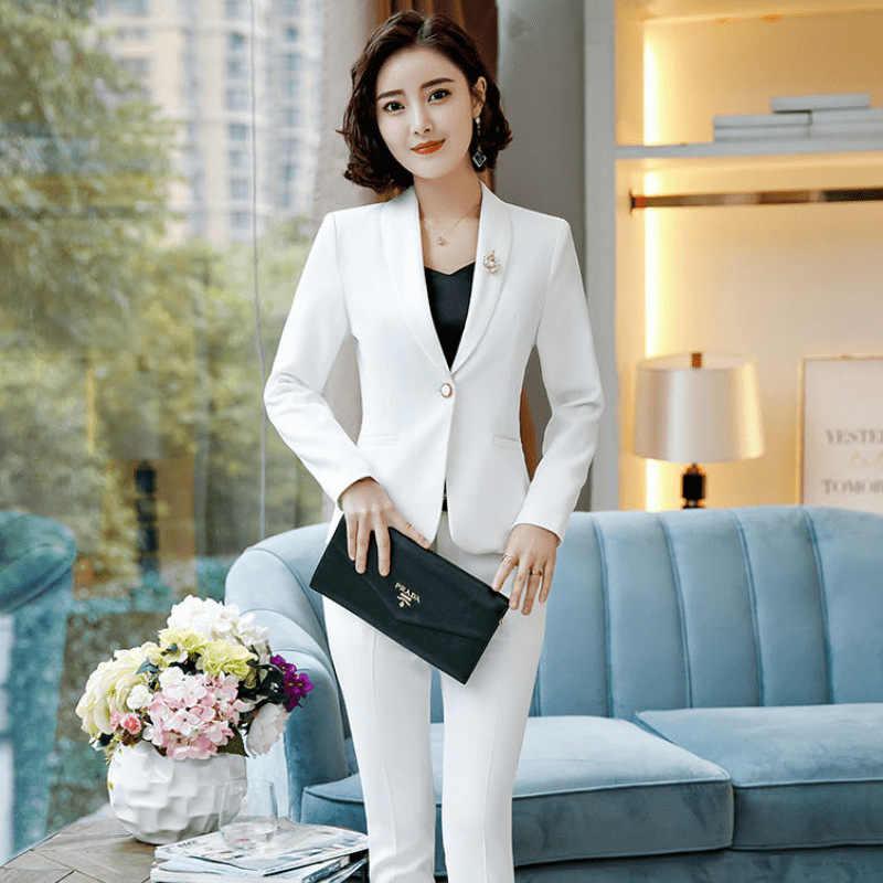 698160a582ad ... 2019 Women's Formal Elegant Dress Blazer Ladies Blazers Work Wear Jacket  Suit Jackets long sleeve White ...
