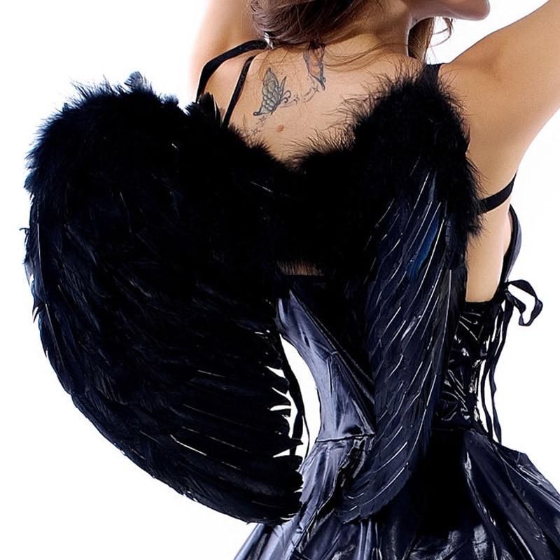 Large 60*45cm Feather White Black Halloween Sexy Dark ...
