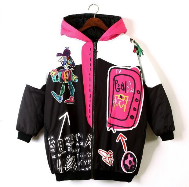 Women Punk Design Thick Warm Winter Coat Harajuku Hooded Casual Loose Long Jacket Street Wear Plus