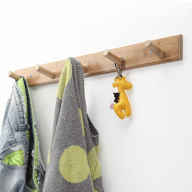 Natural Bamboo Clothes Hanging Hook Coat Hanger Wall Mounted Hat Scarf Handbag Storage Hangers For Bedroom Home Organizer Hooks