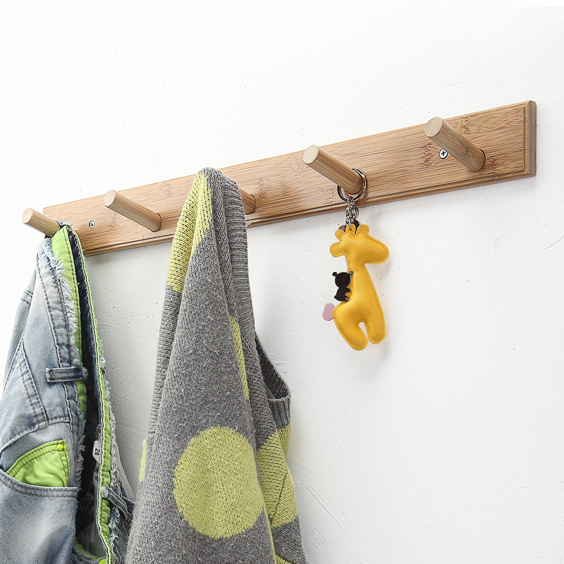 Simple Style Bedroom Furniture Wall Hanger Bamboo Coat Rack Clothes Hanging Hooks Living Room Coat Hanger Wall Hook