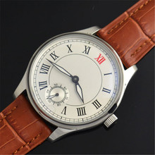 44mm Parnis White Dial Brown Strap Hand Winding Asian 6498 Movement Watch