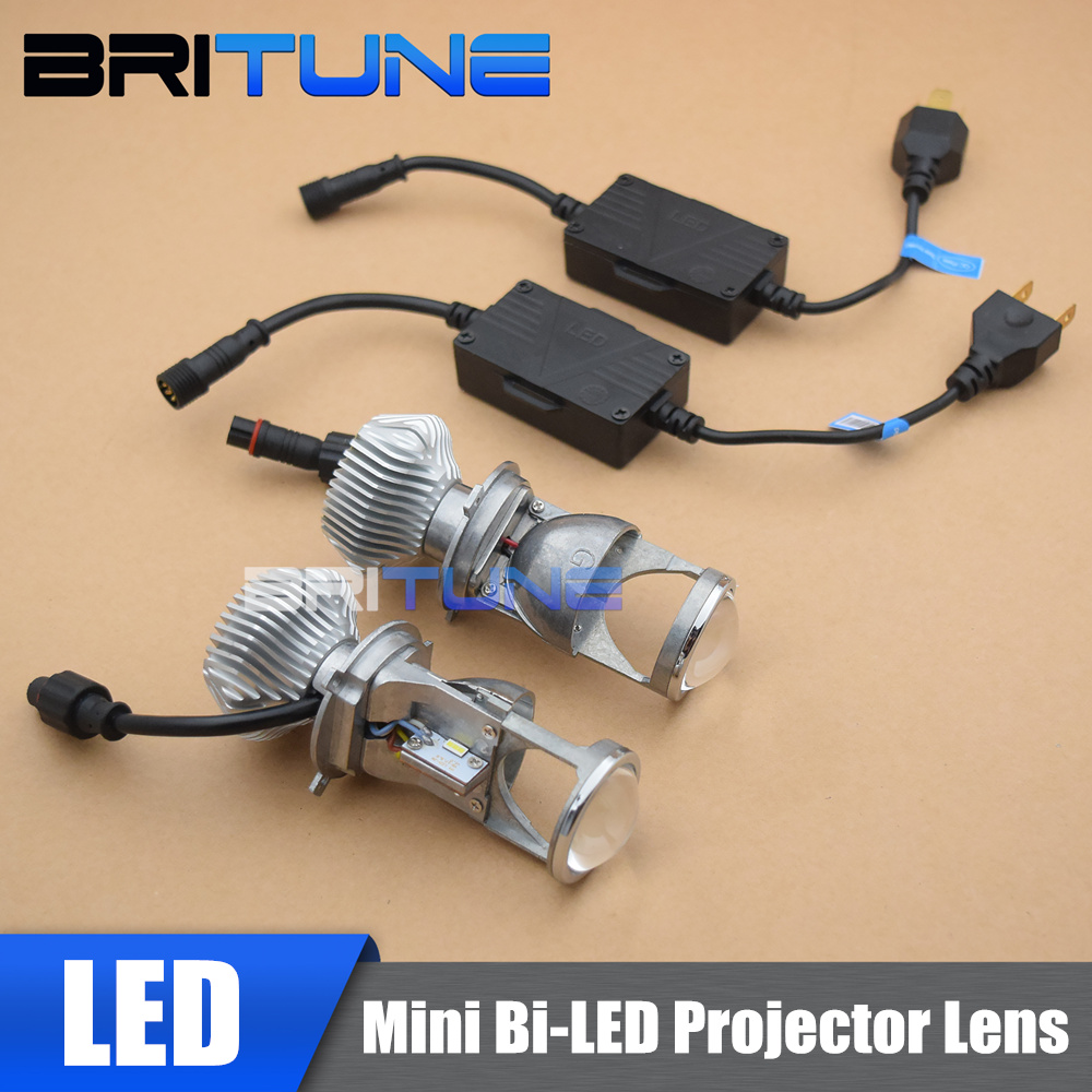 H4 LED Mini Projector Lens Headlight Bi-LED Headlamps Bulbs For Car Retrofit Tuning DIY 60W 1.5 inch 5500K LHD RHD H4 LED Lights skyjoyce mini led projector lens h4 led headlight bulbs led conversion kit h4 led bulb light lamp hi lo beam headlight lhd h4