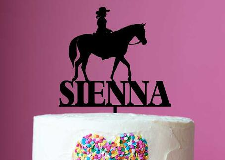 Personalised Name Riding Horse Cowgirl Acrylic Birthday Cake Toppers