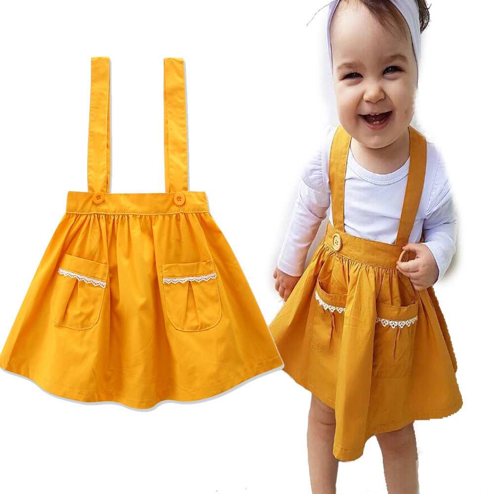 Summer Suspender Skirt 1 Pcs Dark Yellow Clothes Movable Buttons Cute Girls Outfits Kids Clothes Tracksuit Toddler Girl Skirt