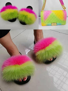 COOLSA Fluffy Slippers Sandals Flip-Flops Slides Plush Furry Party Colorful Women's Real