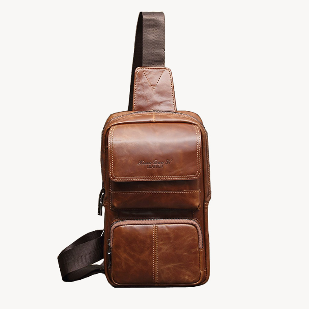 Men's Vintage Famous Brand Open Leather Mens Fashion Travel Riding Motorcycle Crossbody Bag Man Messenger Bag Sling Chest Bag jeep famous brand men chest bags theftproof magnetic button open fashion leather travel crossbody bag man messenger bag 8005