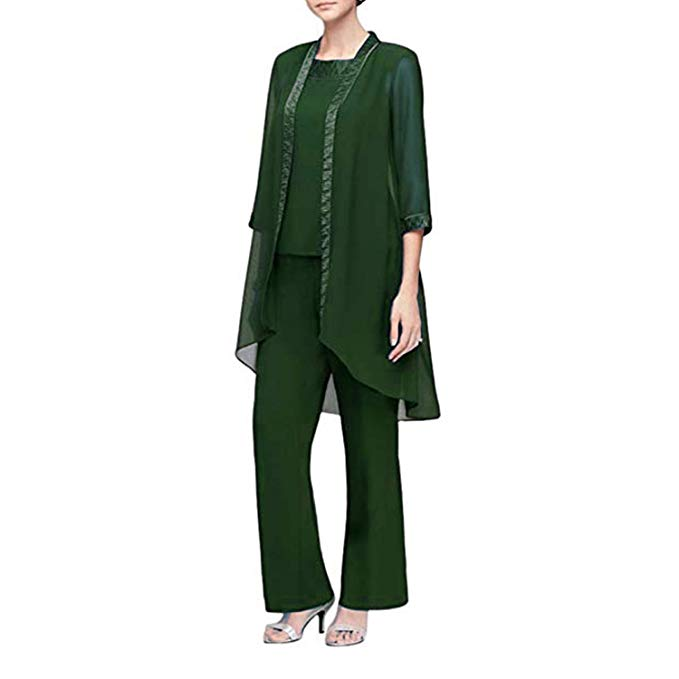 Elegant Women's 3 Pieces Formal Jacket Dress -Mother of The Bride Dress Chiffon Jacket Plus Size