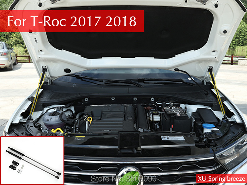 Car Refit Front Bonnet Hood Gas Shock Strut Lift Supporting Bar Hydraulic Rod Car Styling For VW T-Roc 2017 2018 2qty front hood lift support strut spring rod for mercedes benz cls500 cls55
