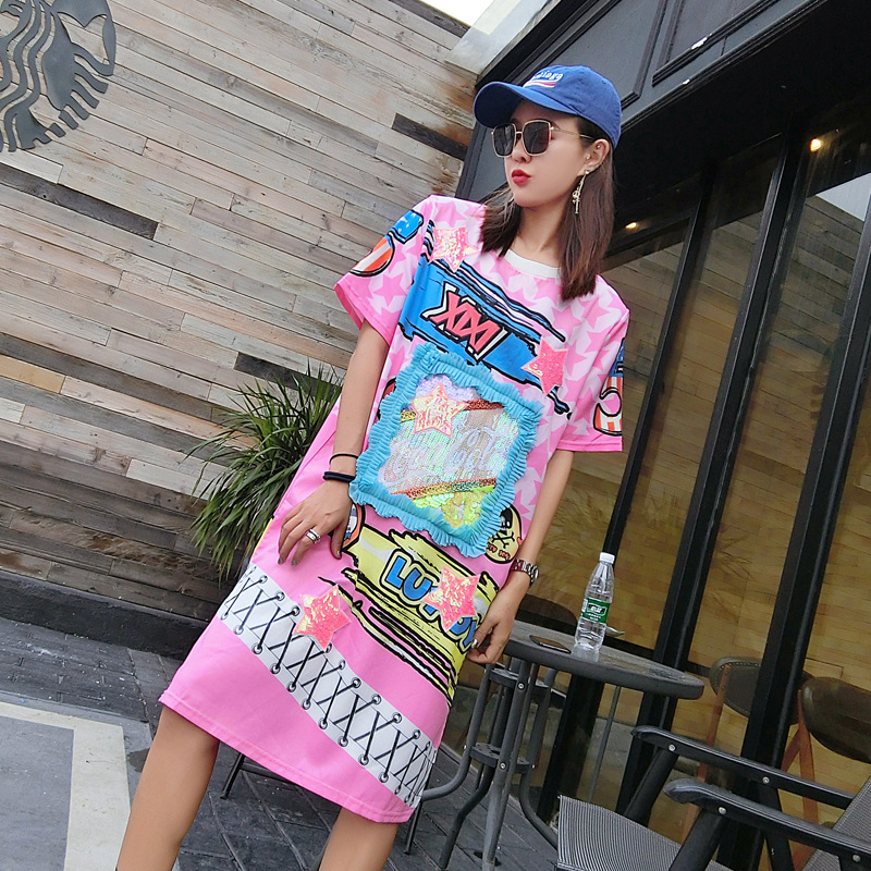 Hip Hop Street 2018 Summer Chao Chao Personality Print Graffiti Short Sleeve Dress Loose Large Pier Dress